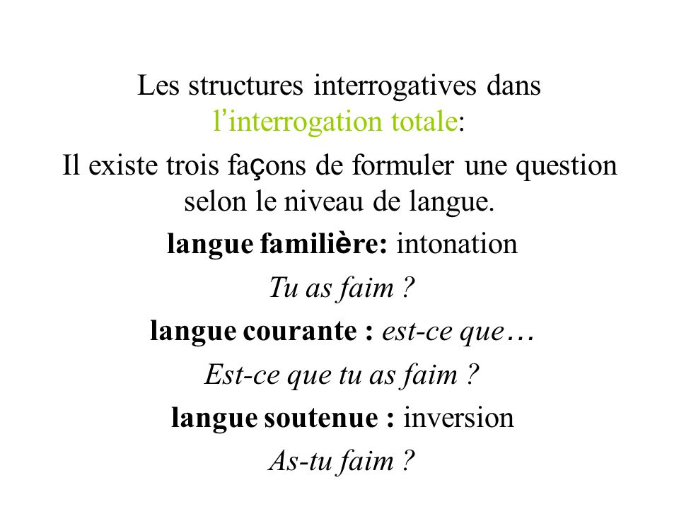Les structures interrogatives dans l'interrogation totale: