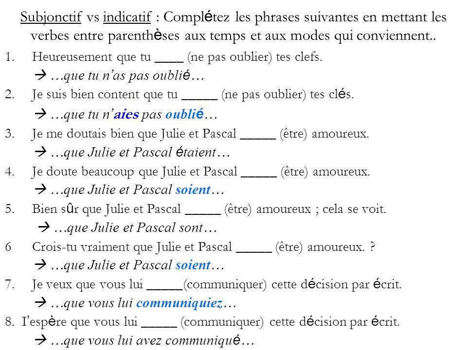 Subjonctif vs indicatif : Complétez les phrases suivantes en mettant les verbes entre parenthèses aux temps et aux modes qui conviennent..