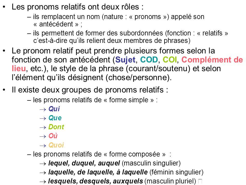 Les pronoms relatifs ont deux rôles :
