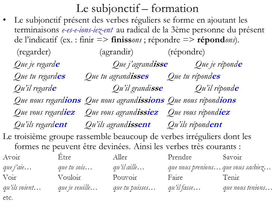 Le subjonctif – formation