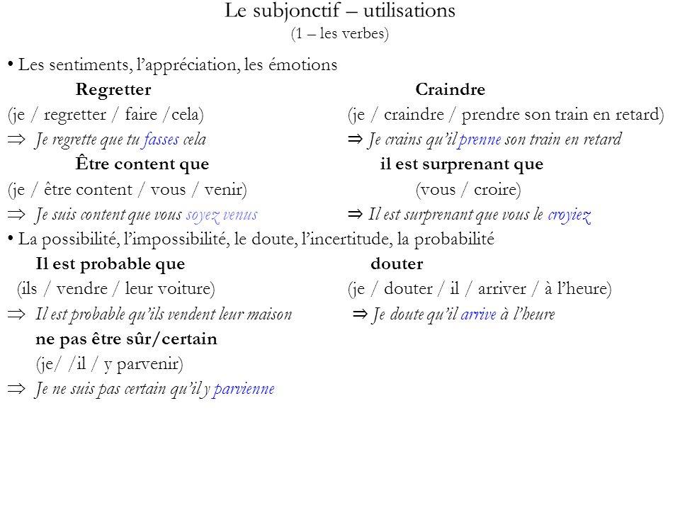 Le subjonctif – utilisations (1 – les verbes)