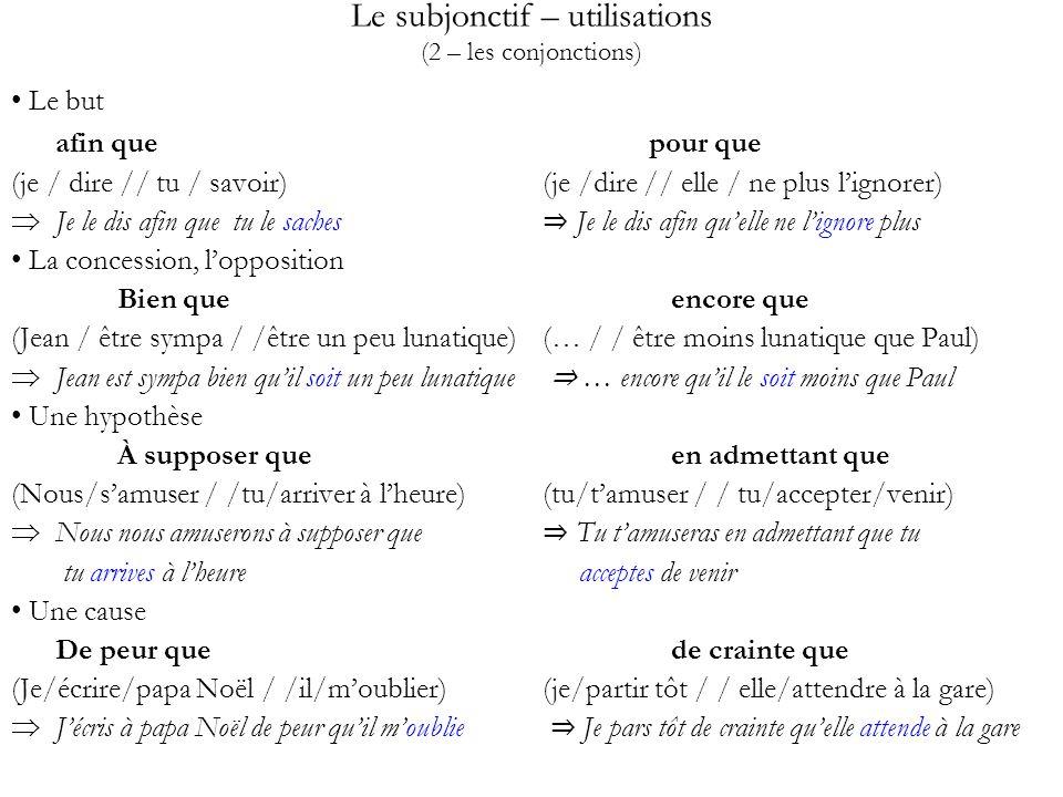 Le subjonctif – utilisations (2 – les conjonctions)