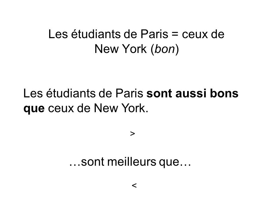 Les étudiants de Paris = ceux de New York (bon)