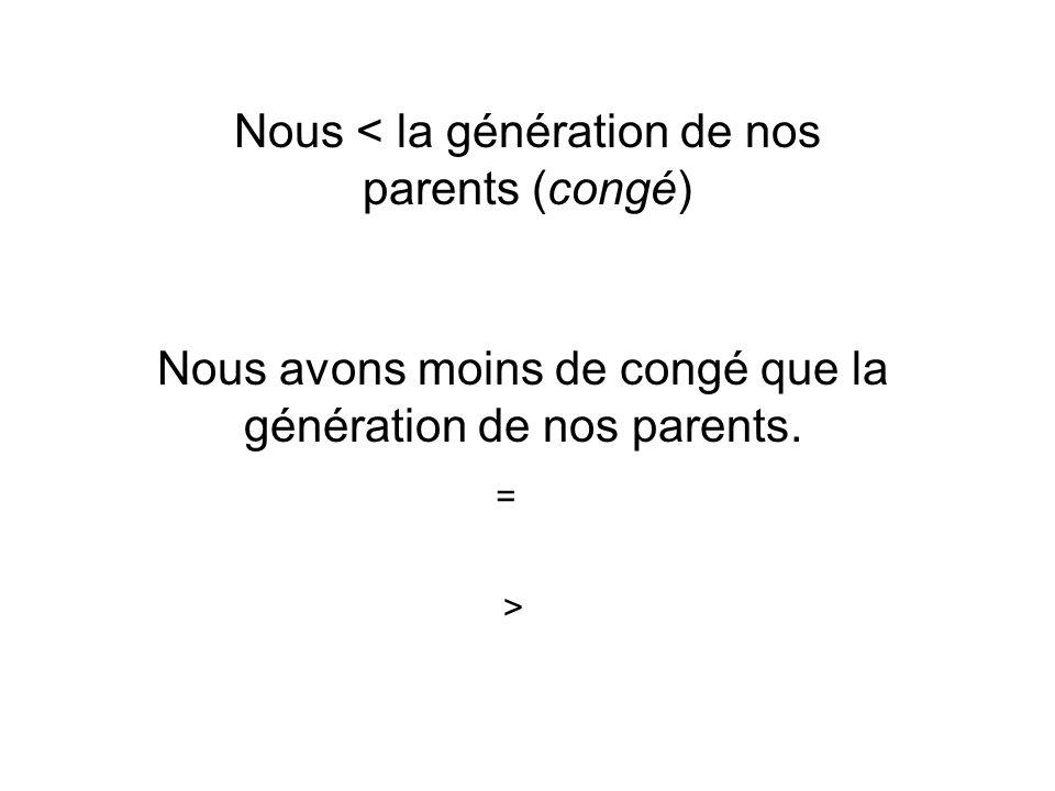 Nous < la génération de nos parents (congé)