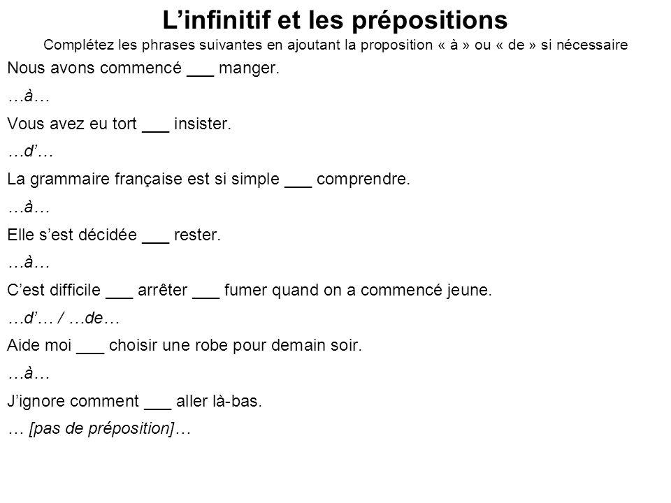 L'infinitif et les prépositions