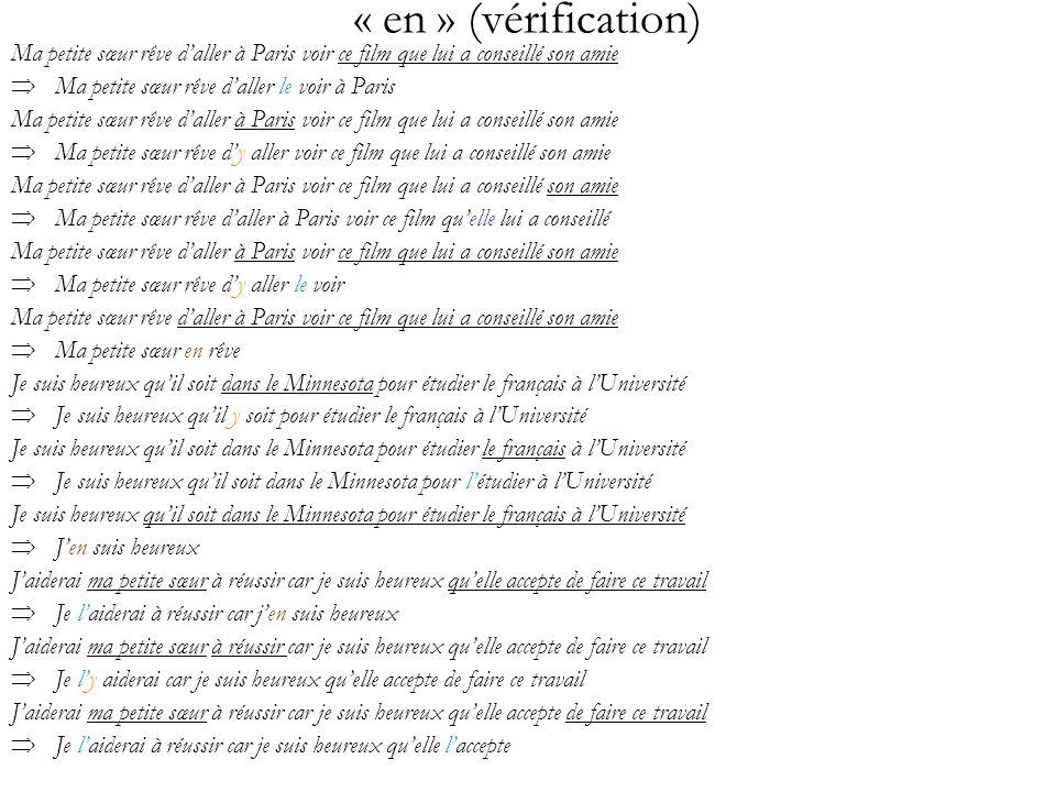 « en » (vérification) Ma petite sœur rêve d'aller à Paris voir ce film que lui a conseillé son amie.