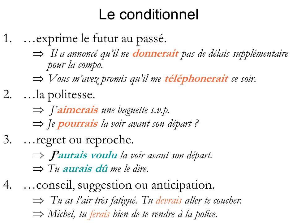Le conditionnel …exprime le futur au passé. …la politesse.
