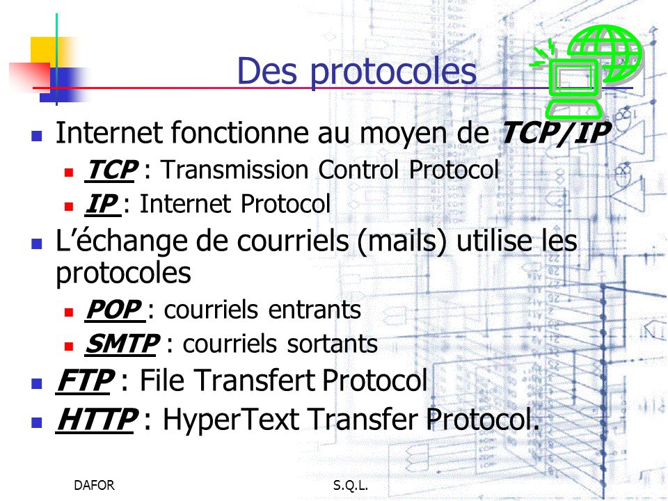 Des protocoles Internet fonctionne au moyen de TCP/IP