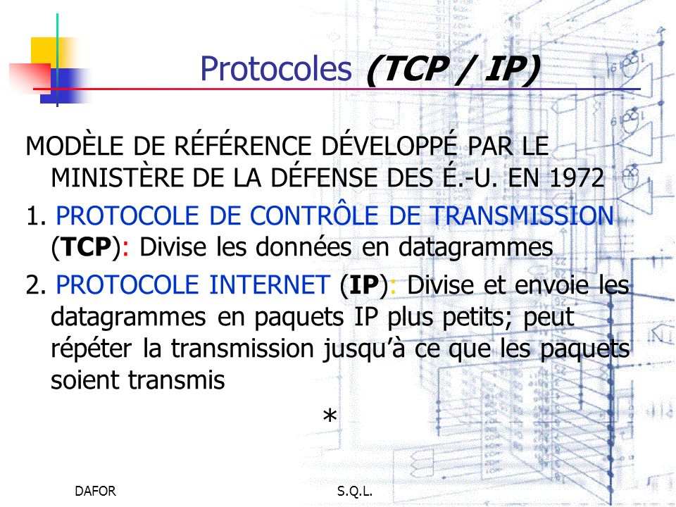Protocoles (TCP / IP)MODÈLE DE RÉFÉRENCE DÉVELOPPÉ PAR LE MINISTÈRE DE LA DÉFENSE DES É.-U. EN 1972.
