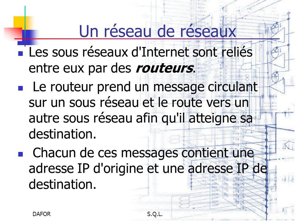Un réseau de réseaux Les sous réseaux d Internet sont reliés entre eux par des routeurs.