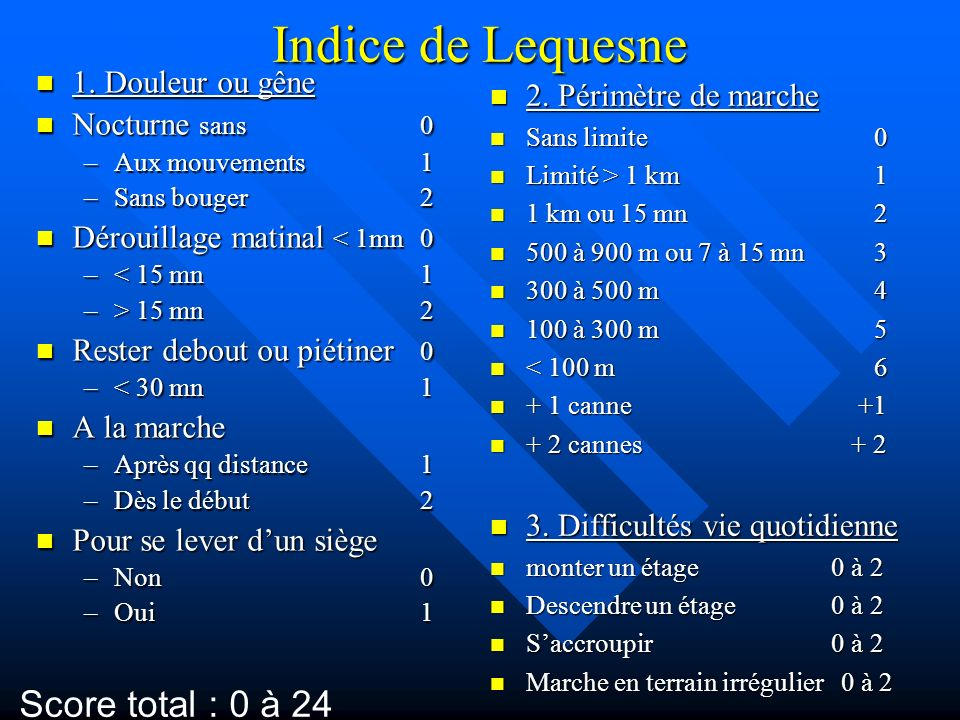 Indice de Lequesne Score total : 0 à 24 1. Douleur ou gêne