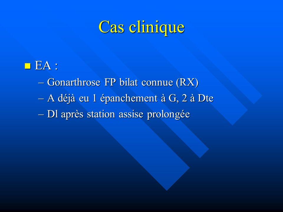 Cas clinique EA : Gonarthrose FP bilat connue (RX)