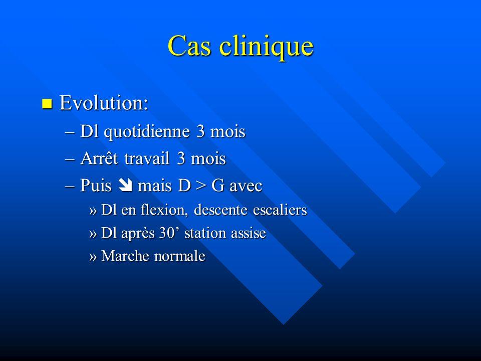 Cas clinique Evolution: Dl quotidienne 3 mois Arrêt travail 3 mois