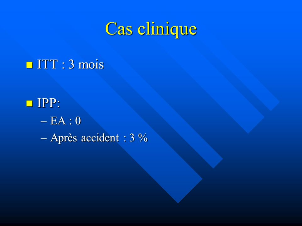 Cas clinique ITT : 3 mois IPP: EA : 0 Après accident : 3 %
