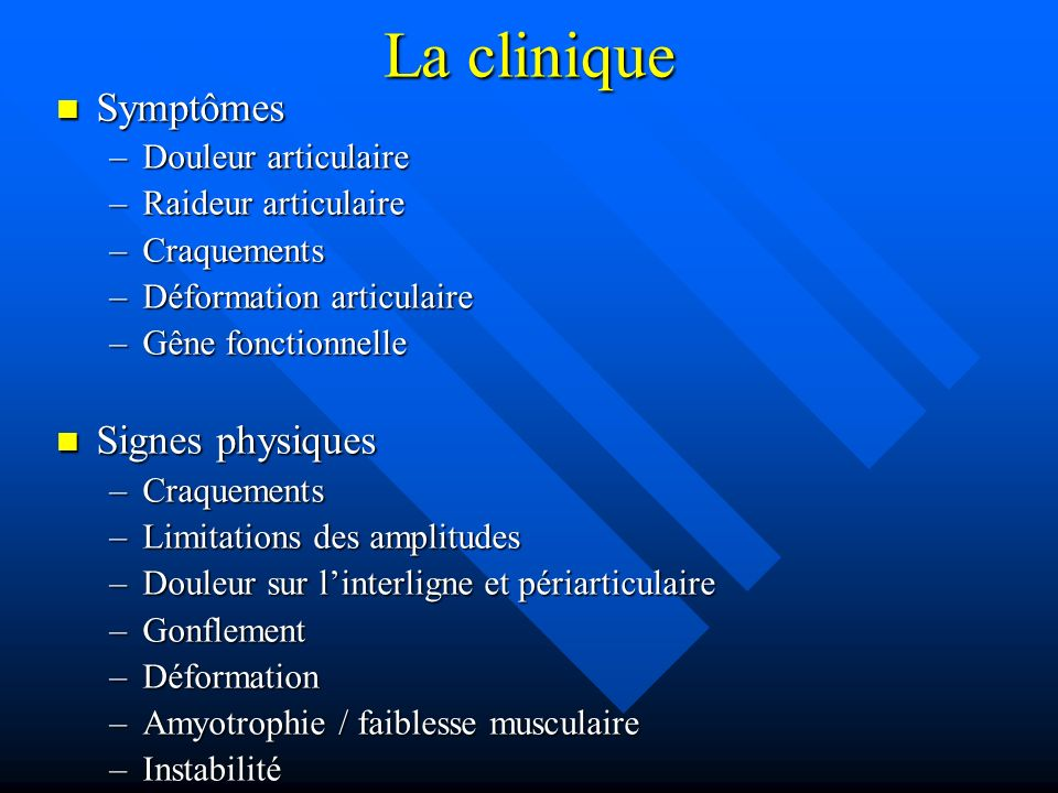 La clinique Symptômes Signes physiques Douleur articulaire