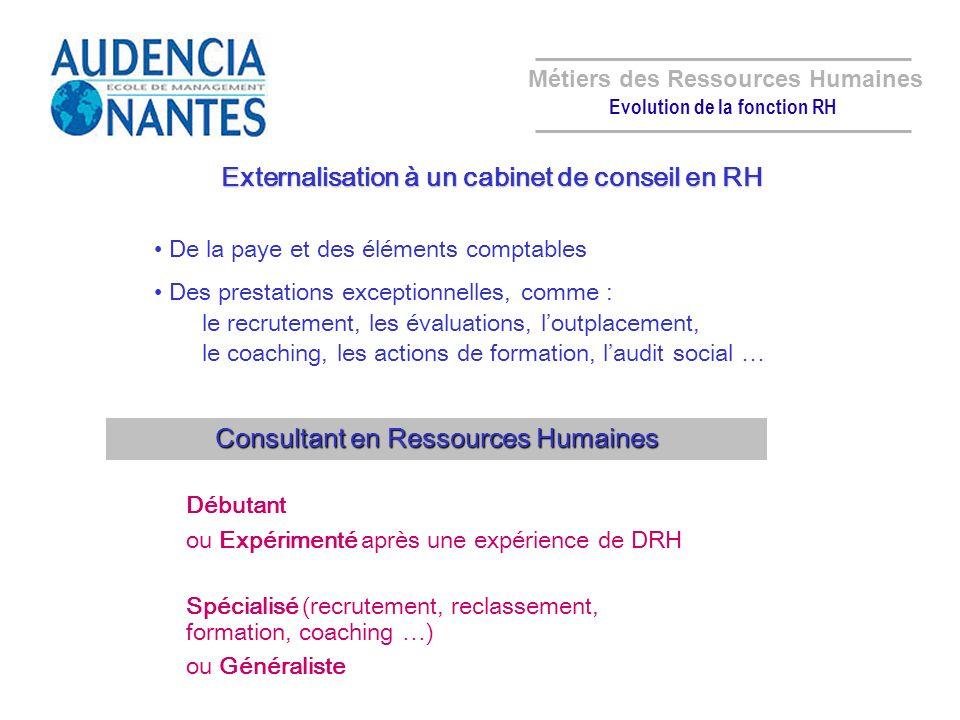 Métiers des Ressources Humaines Evolution de la fonction RH