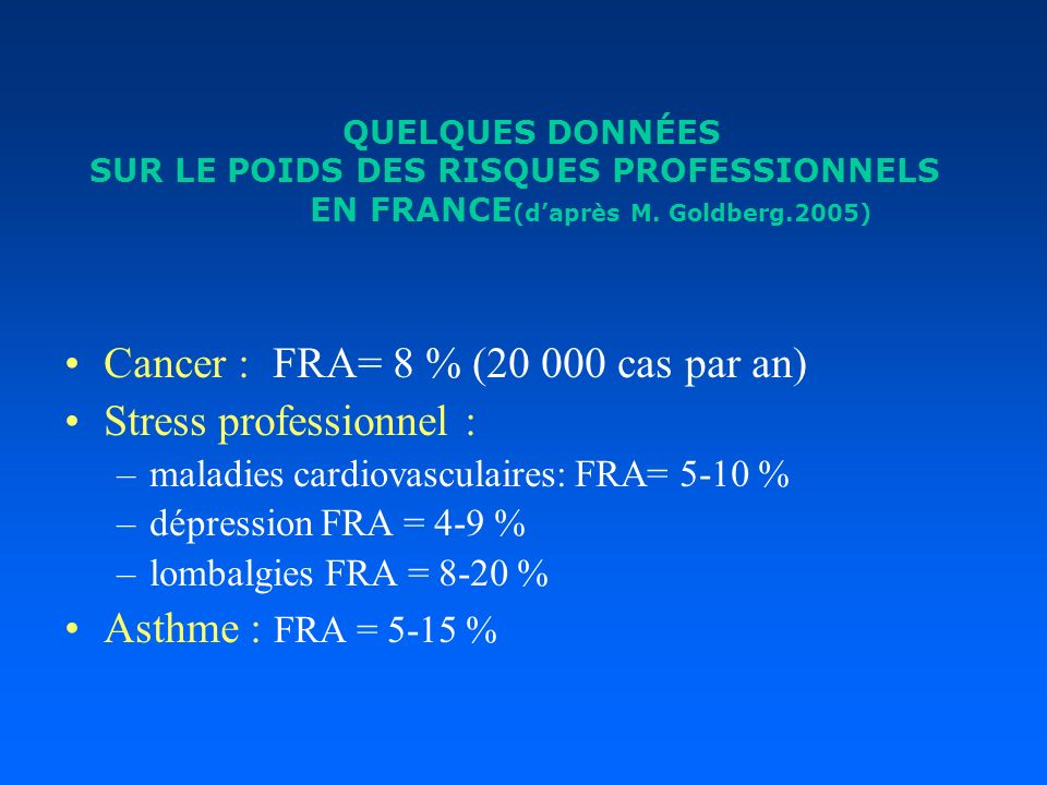 Cancer : FRA= 8 % (20 000 cas par an) Stress professionnel :