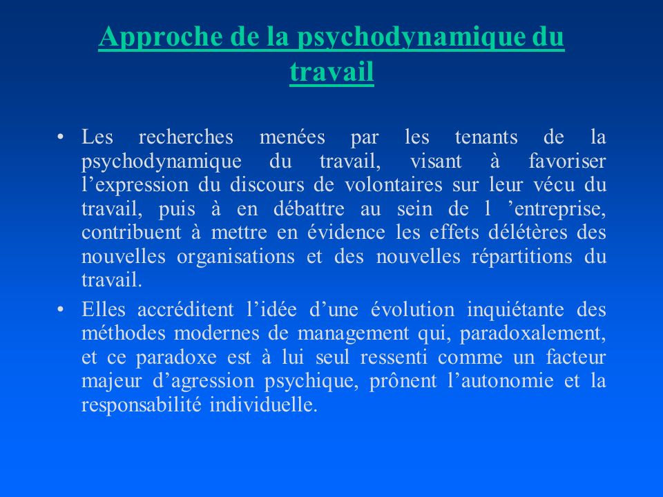 Approche de la psychodynamique du travail
