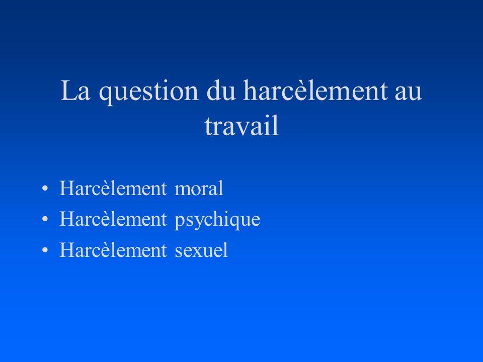 La question du harcèlement au travail