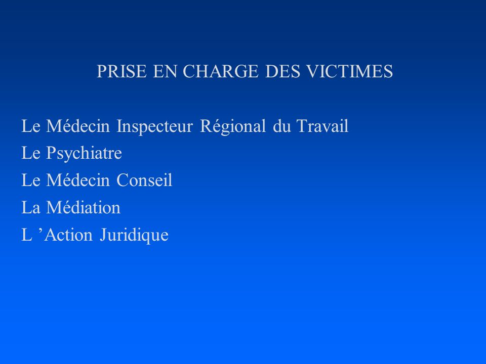 PRISE EN CHARGE DES VICTIMES