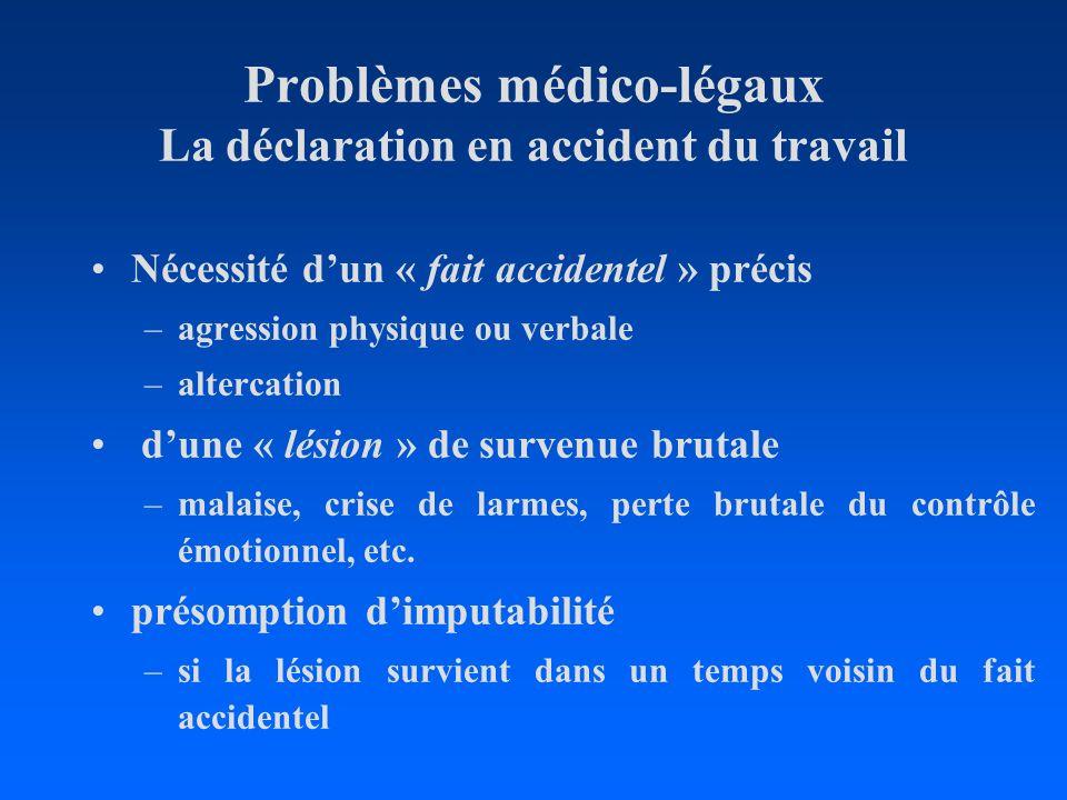 Problèmes médico-légaux La déclaration en accident du travail