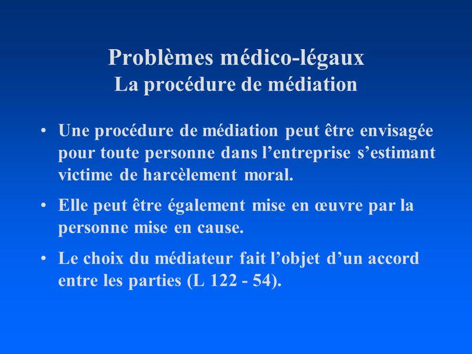 Problèmes médico-légaux La procédure de médiation