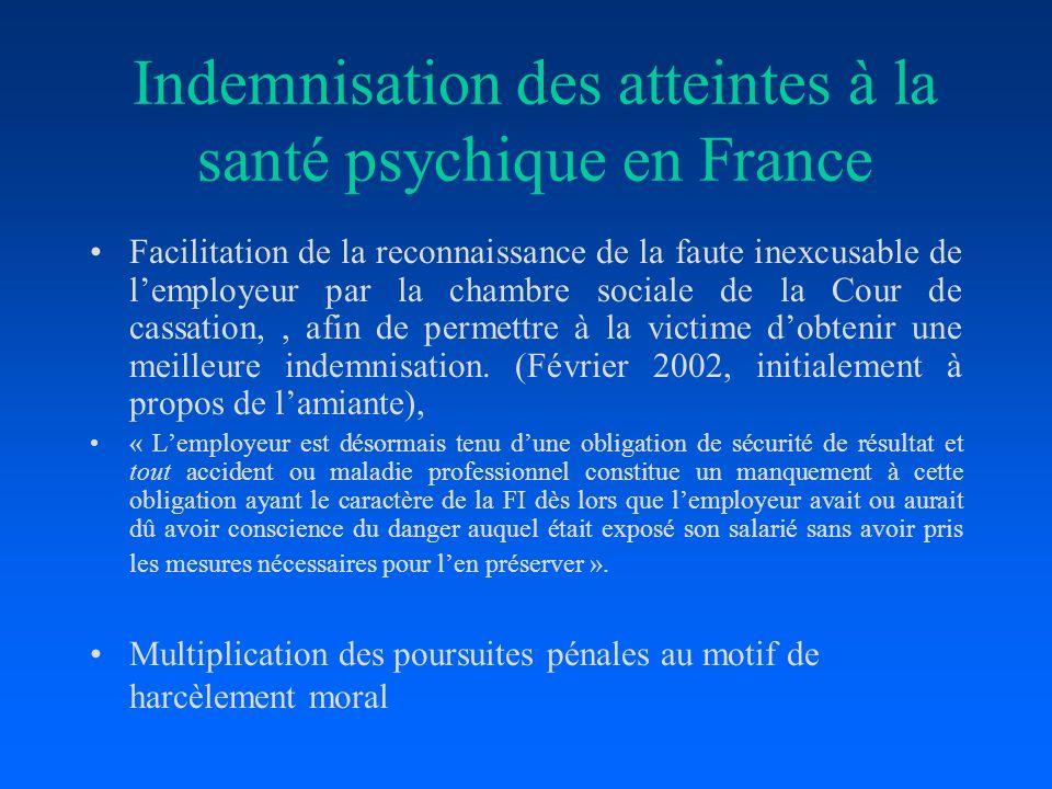 Indemnisation des atteintes à la santé psychique en France