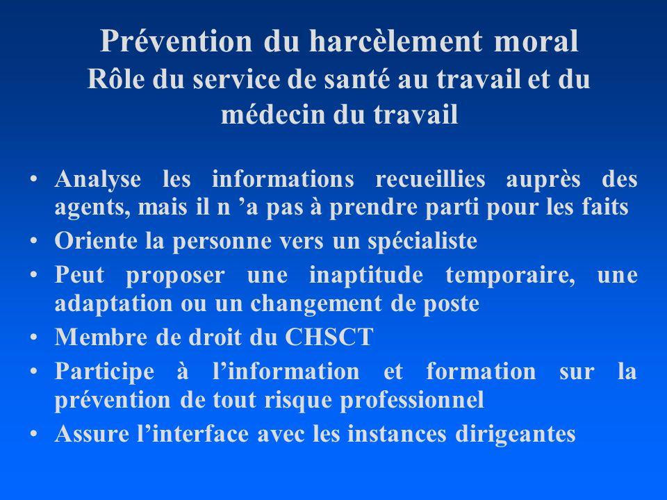 Prévention du harcèlement moral Rôle du service de santé au travail et du médecin du travail