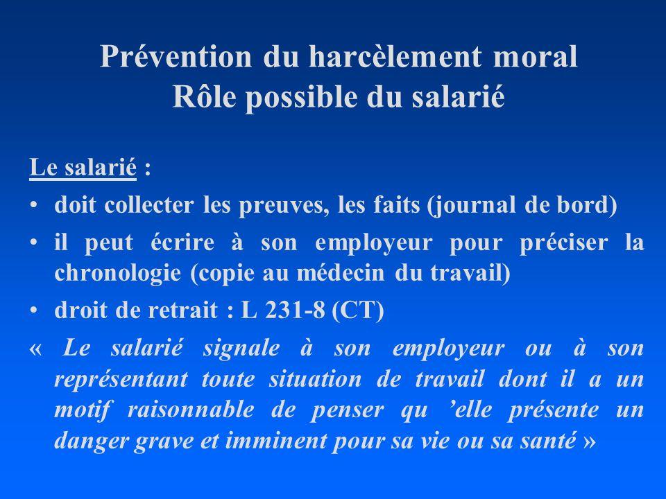 Prévention du harcèlement moral Rôle possible du salarié