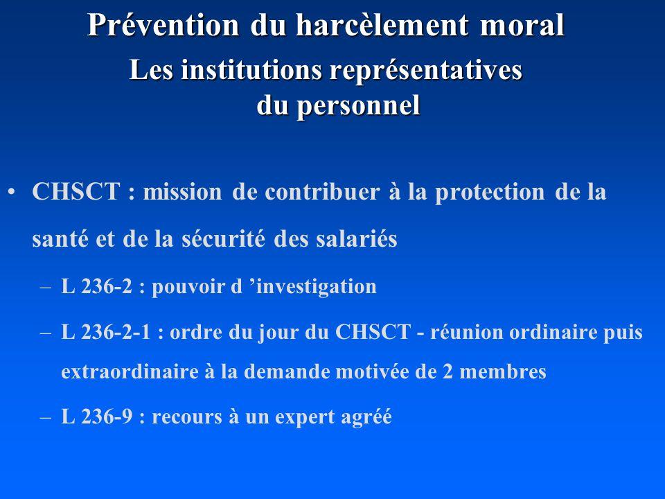 Prévention du harcèlement moral