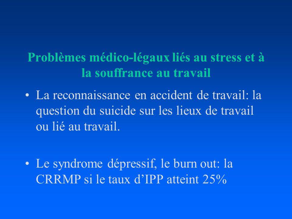 Problèmes médico-légaux liés au stress et à la souffrance au travail