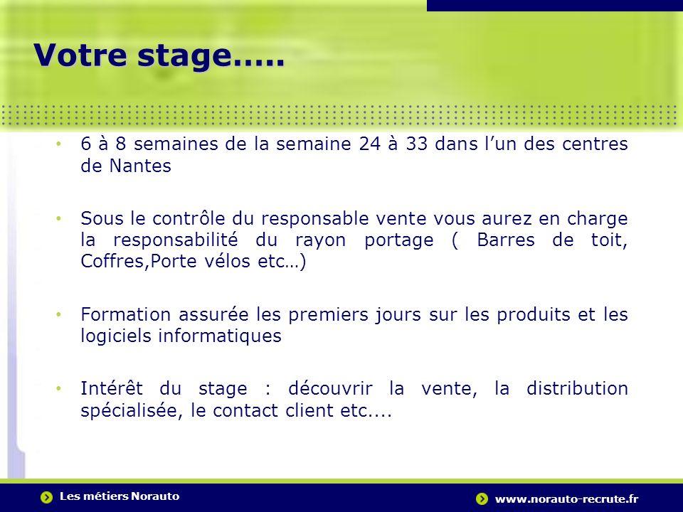 Votre stage….. 6 à 8 semaines de la semaine 24 à 33 dans l'un des centres de Nantes.