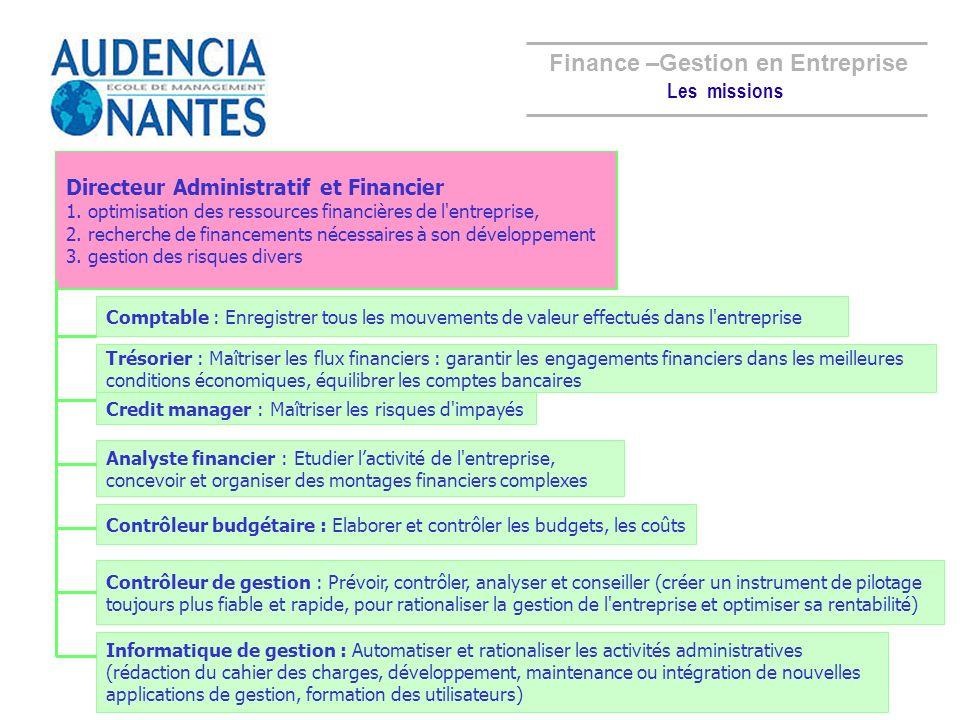 Finance –Gestion en Entreprise Directeur Administratif et Financier