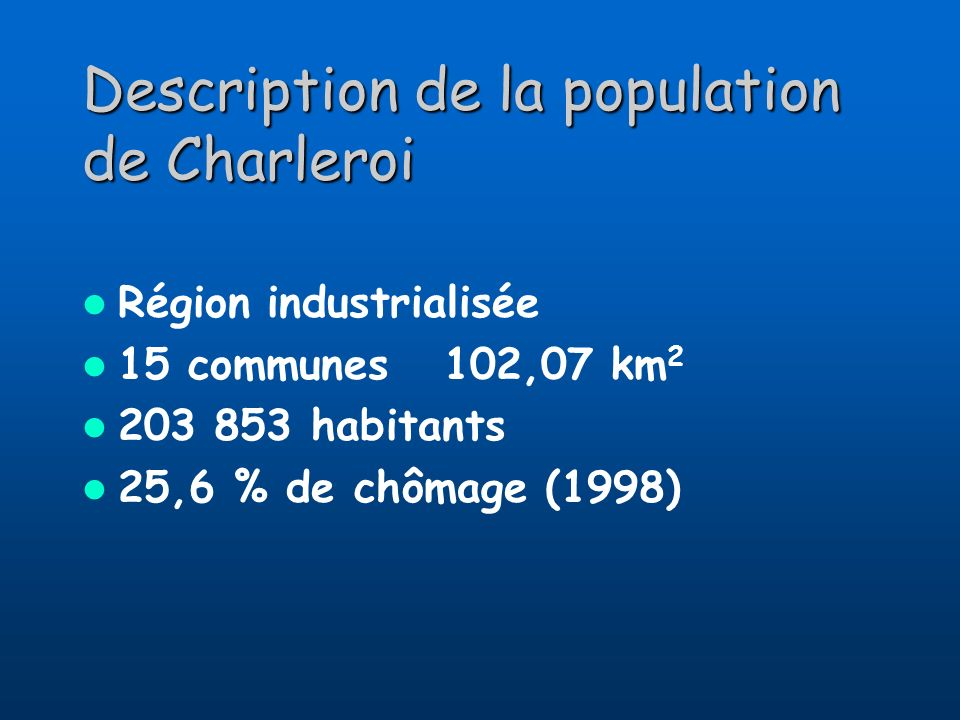Description de la population de Charleroi