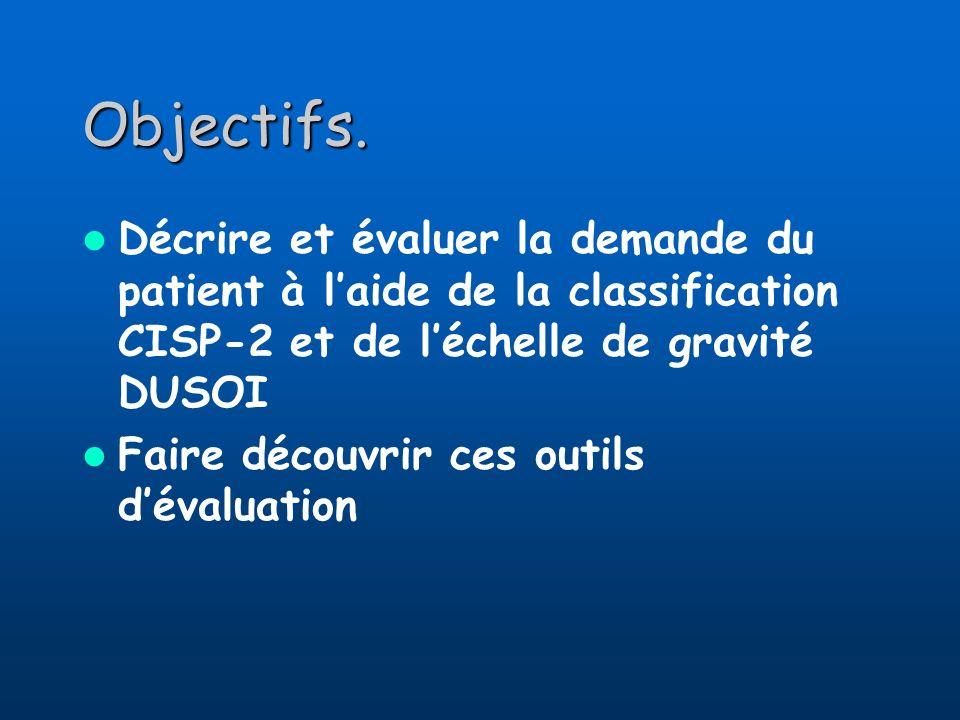 Objectifs. Décrire et évaluer la demande du patient à l'aide de la classification CISP-2 et de l'échelle de gravité DUSOI.