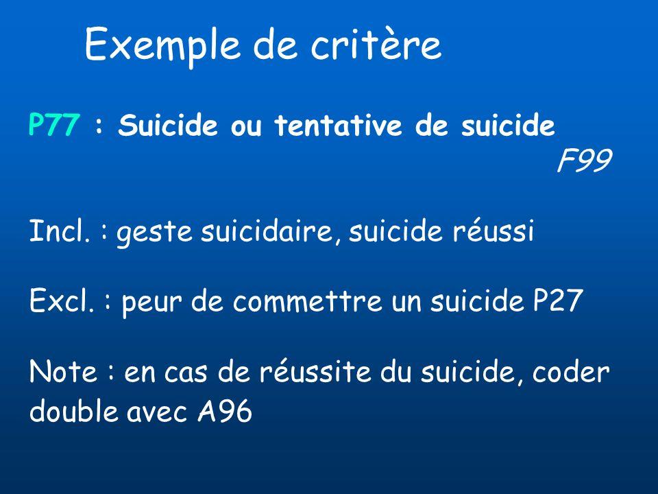 Exemple de critère P77 : Suicide ou tentative de suicide F99