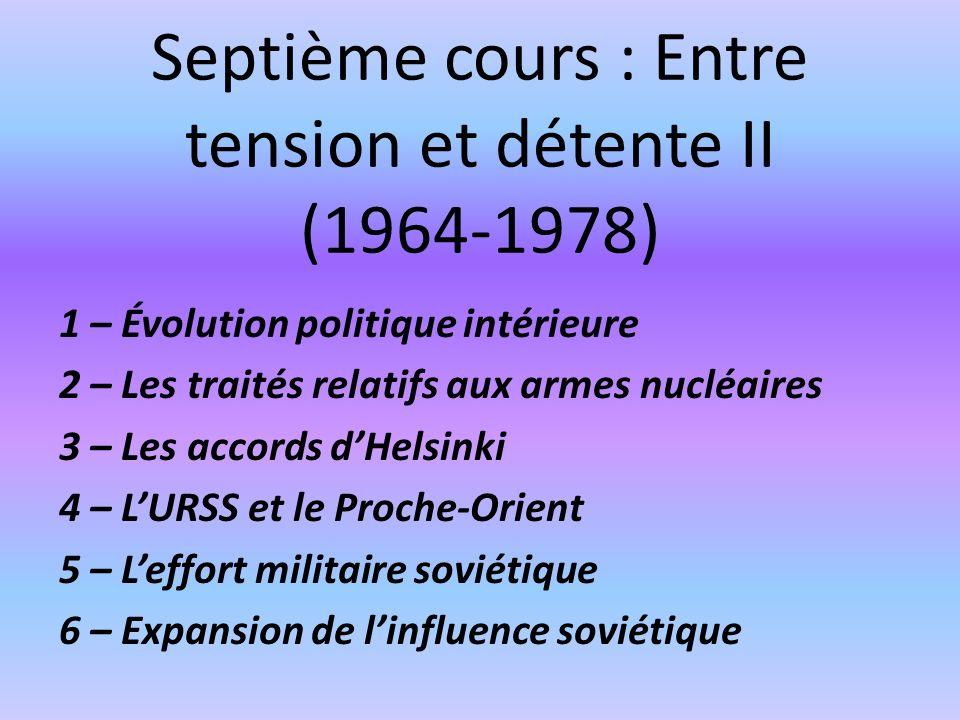 Septième cours : Entre tension et détente II (1964-1978)