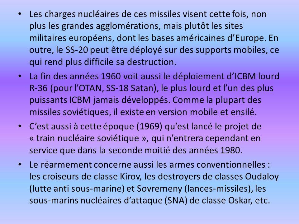Les charges nucléaires de ces missiles visent cette fois, non plus les grandes agglomérations, mais plutôt les sites militaires européens, dont les bases américaines d'Europe. En outre, le SS-20 peut être déployé sur des supports mobiles, ce qui rend plus difficile sa destruction.