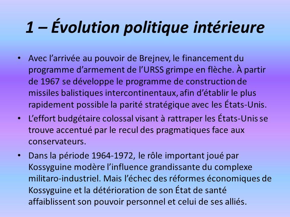 1 – Évolution politique intérieure