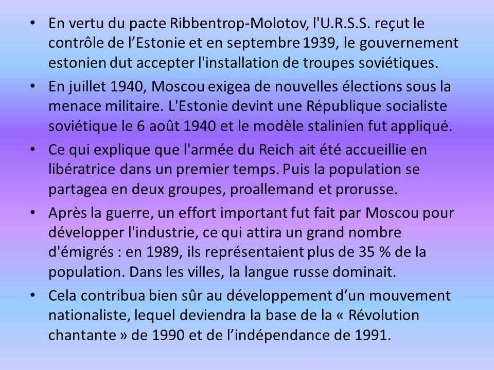 En vertu du pacte Ribbentrop-Molotov, l U. R. S. S