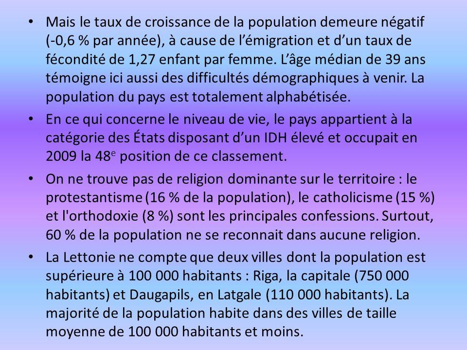 Mais le taux de croissance de la population demeure négatif (-0,6 % par année), à cause de l'émigration et d'un taux de fécondité de 1,27 enfant par femme. L'âge médian de 39 ans témoigne ici aussi des difficultés démographiques à venir. La population du pays est totalement alphabétisée.