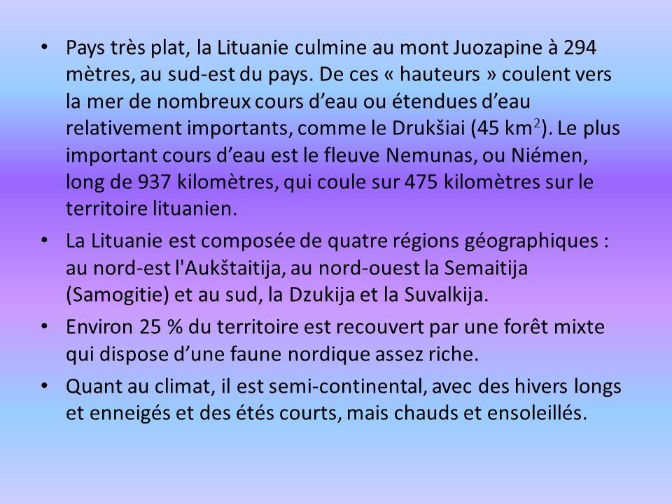 Pays très plat, la Lituanie culmine au mont Juozapine à 294 mètres, au sud-est du pays. De ces « hauteurs » coulent vers la mer de nombreux cours d'eau ou étendues d'eau relativement importants, comme le Drukšiai (45 km2). Le plus important cours d'eau est le fleuve Nemunas, ou Niémen, long de 937 kilomètres, qui coule sur 475 kilomètres sur le territoire lituanien.