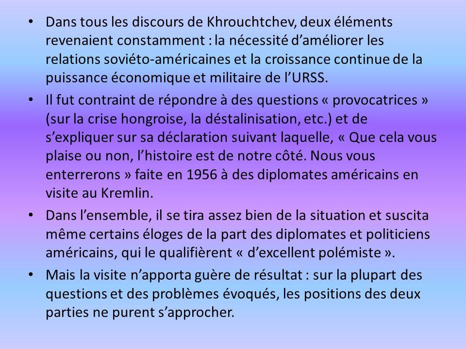 Dans tous les discours de Khrouchtchev, deux éléments revenaient constamment : la nécessité d'améliorer les relations soviéto-américaines et la croissance continue de la puissance économique et militaire de l'URSS.