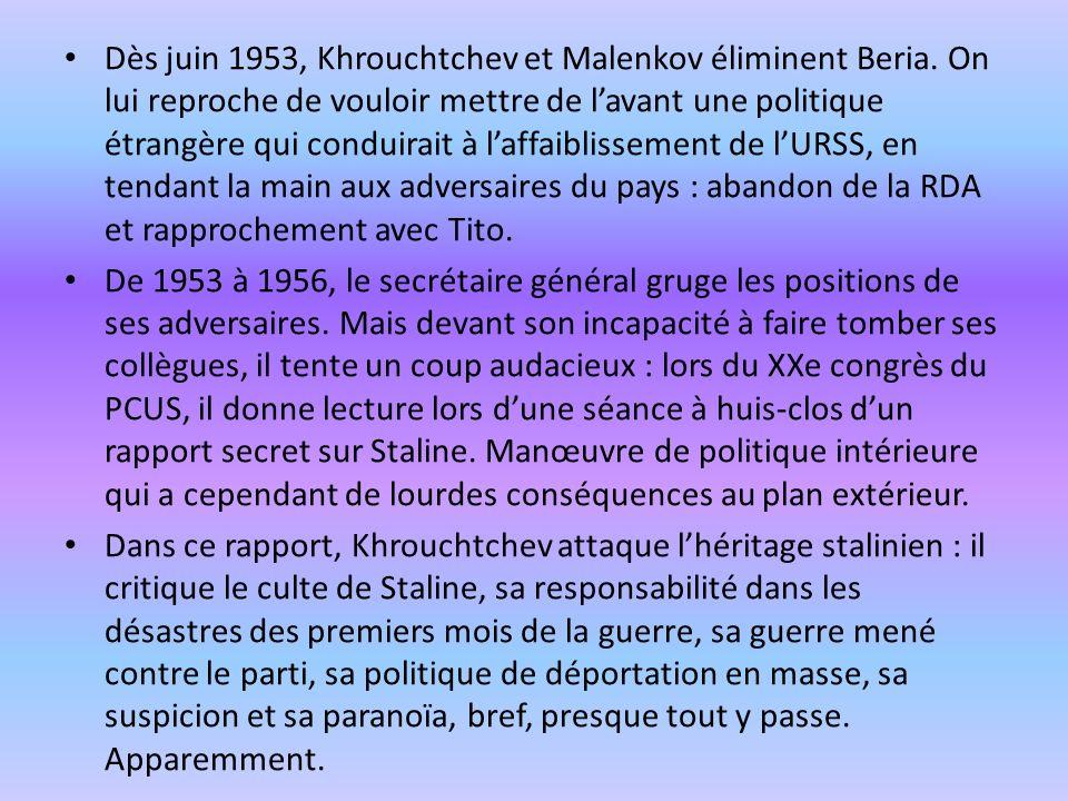 Dès juin 1953, Khrouchtchev et Malenkov éliminent Beria