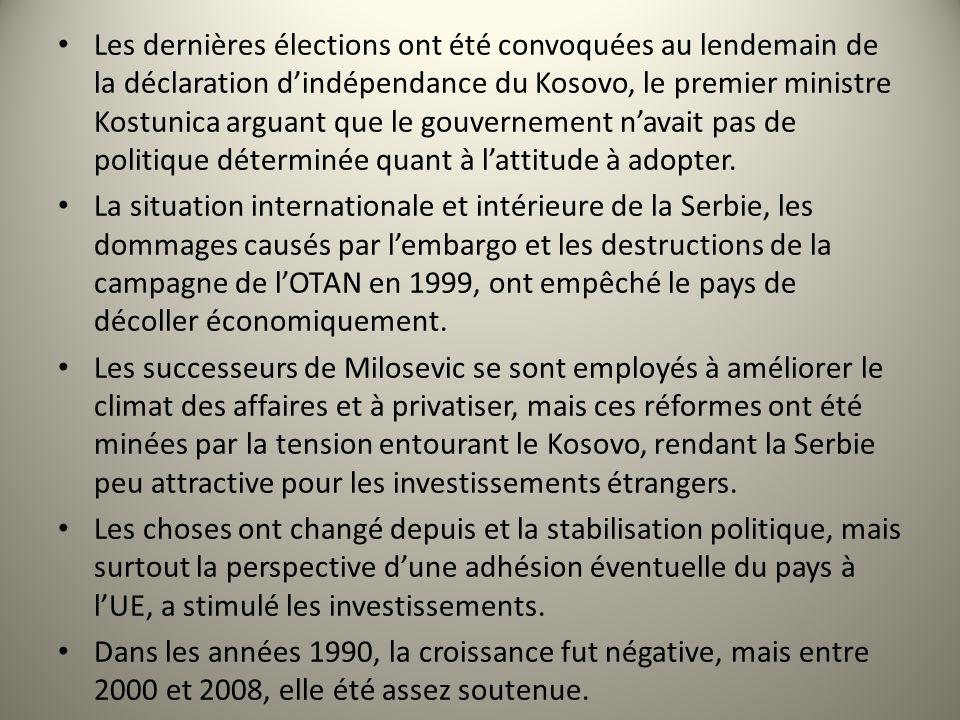 Les dernières élections ont été convoquées au lendemain de la déclaration d'indépendance du Kosovo, le premier ministre Kostunica arguant que le gouvernement n'avait pas de politique déterminée quant à l'attitude à adopter.