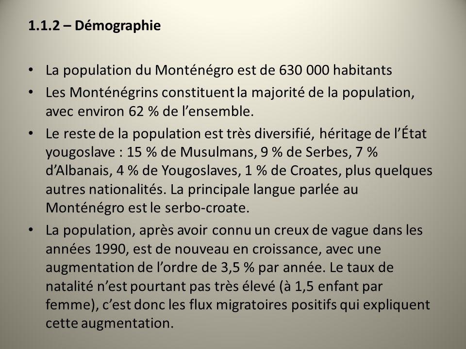 1.1.2 – DémographieLa population du Monténégro est de 630 000 habitants.