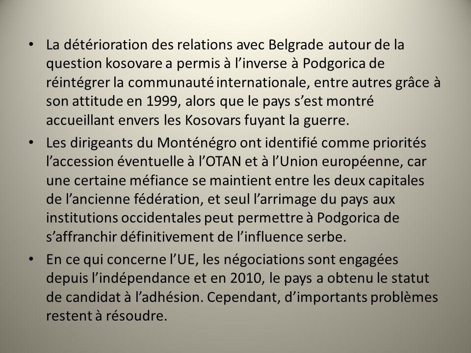 La détérioration des relations avec Belgrade autour de la question kosovare a permis à l'inverse à Podgorica de réintégrer la communauté internationale, entre autres grâce à son attitude en 1999, alors que le pays s'est montré accueillant envers les Kosovars fuyant la guerre.