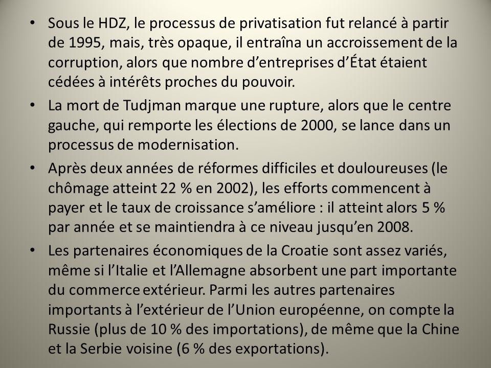 Sous le HDZ, le processus de privatisation fut relancé à partir de 1995, mais, très opaque, il entraîna un accroissement de la corruption, alors que nombre d'entreprises d'État étaient cédées à intérêts proches du pouvoir.