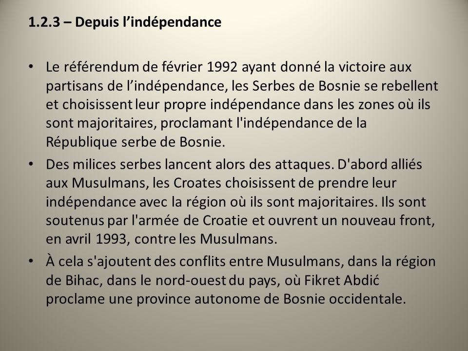1.2.3 – Depuis l'indépendance