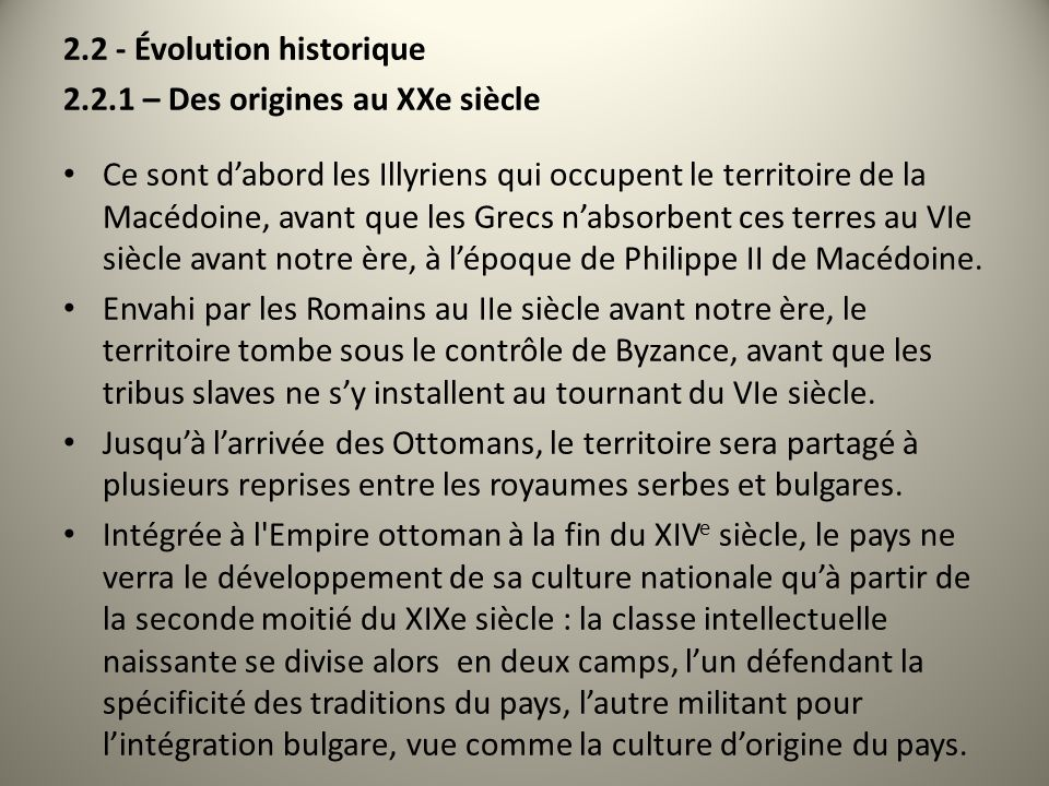 2.2 - Évolution historique